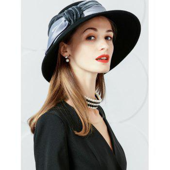 Bowknot Embellished Faux Wool Fedora Hat -  GRAY