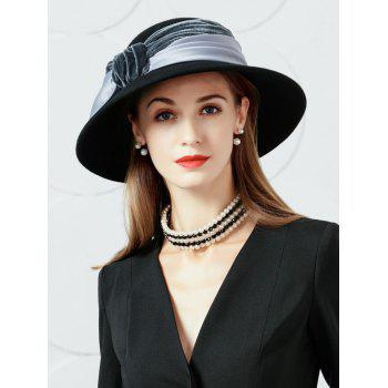 Bowknot Embellished Faux Wool Fedora Hat - GRAY GRAY