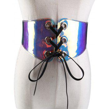 Funny Translucent Pattern Decorated Elastic Wide Waist Belt - COLORFUL