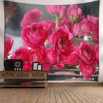 Wall Hanging Rose Flowers Printed Tapestry - DEEP PINK W91 INCH * L71 INCH