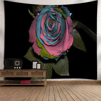 Rose Flower Pattern Wall Art Bedroom Tapestry - BLACK W79 INCH * L71 INCH