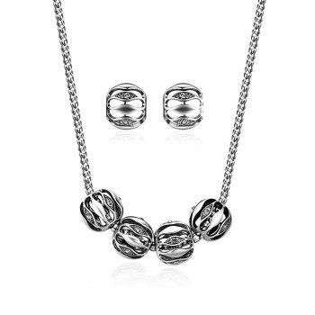 Alloy Simple Necklace and Earring Set - SILVER SILVER