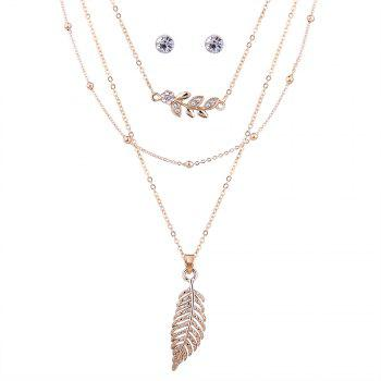Rhinestoned Leaf Necklace with Earring Set - GOLDEN GOLDEN