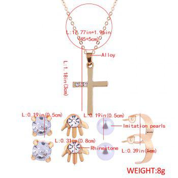Faux Diamond Inlay Cross Necklace and Earrings Set - GOLDEN