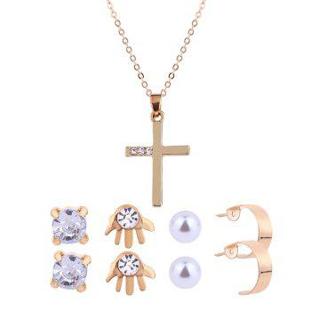 Faux Diamond Inlay Cross Necklace and Earrings Set - GOLDEN GOLDEN
