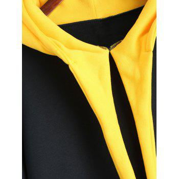 Long Plus Size Color Block Hoodie - BLACK 3XL