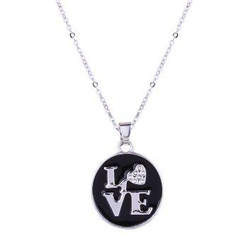 Valentine's Day Love Necklace and Stud Earrings Set - SILVER