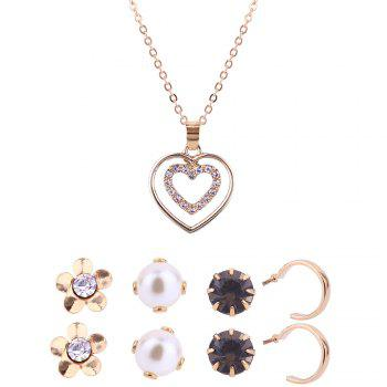 Heart Shape Pendant Necklace and Stud Earrings Set - GOLDEN GOLDEN