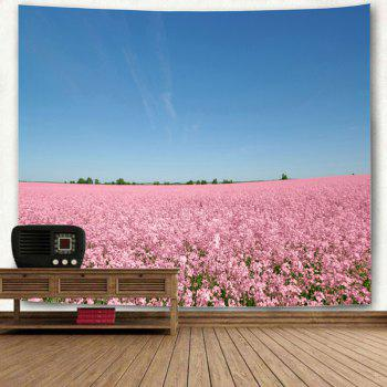 Wall Hanging Flower Field Scenery Tapestry - BLUE/PINK W91 INCH * L71 INCH