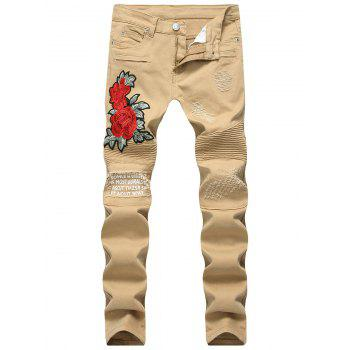 Skinny Flower Embroidery Distressed Jeans - KHAKI KHAKI