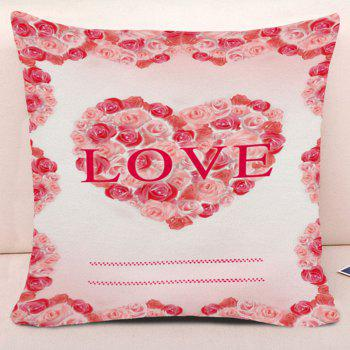 Valentine's Day Roses Love Heart Print Pillow Case - PINK W18 INCH * L18 INCH