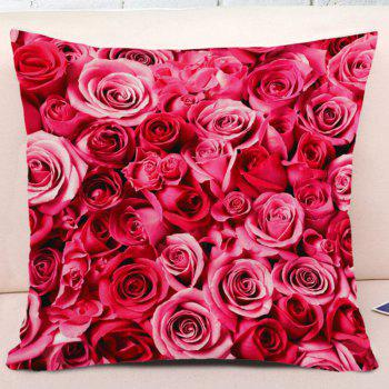 Valentine's Day Roses Pattern Square Pillow Case - PINK W17.5 INCH * L17.5 INCH