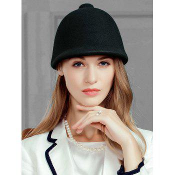 Pointed Top Decorated Faux Wool Formal Hat -  BLACK