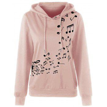 Two Tone Music Note Hoodie - PINK XL