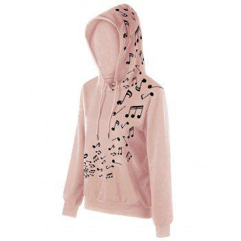 Two Tone Music Note Hoodie - PINK PINK
