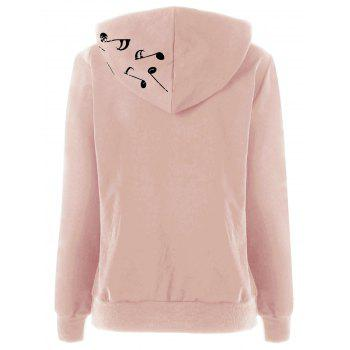 Two Tone Music Note Hoodie - PINK 2XL