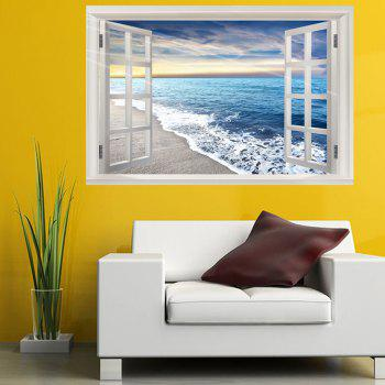 Sea Beach Waves Removable Window View Wall Sticker - COLORFUL W20 INCH * L27.5 INCH