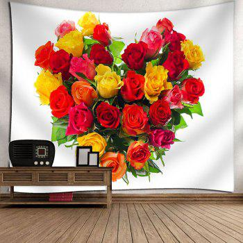 Valentine's Day Roses Heart Print Wall Hanging Tapestry - WHITE W71 INCH * L71 INCH