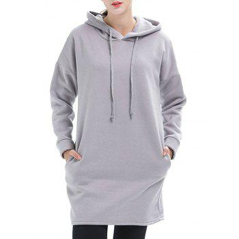Drop Shoulder Pullover Tunic Hoodie - LIGHT GRAY M