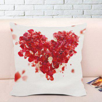 Valentine's Day Rose Petals Heart Throw Pillow Case - WHITE W18 INCH * L18 INCH