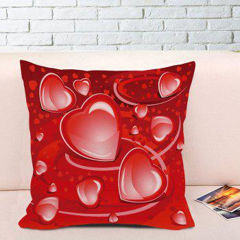 Valentine's Day Love Heart Print Square Pillowcase - RED W18 INCH * L18 INCH