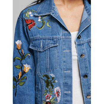 Embroidery Floral Jean Jacket - DENIM BLUE S