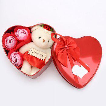 3PCS Soap Roses Flowers and 1PC Bear in a Iron Box Valentine's Day Gift - RED 12*11*5CM