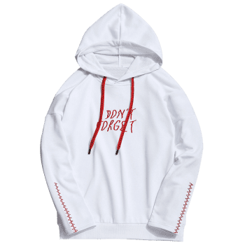 Dont Forget Graphic Embroidered Hoodie - WHITE 2XL