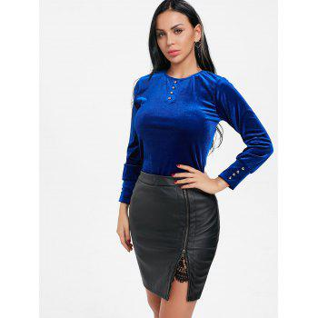 Bouton T-shirt tunique en velours - Bleu XL