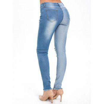 Color Block Ripped High Waisted Jeans - DENIM BLUE S