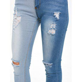 Color Block Ripped High Waisted Jeans - DENIM BLUE M