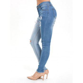 Color Block Ripped High Waisted Jeans - DENIM BLUE L