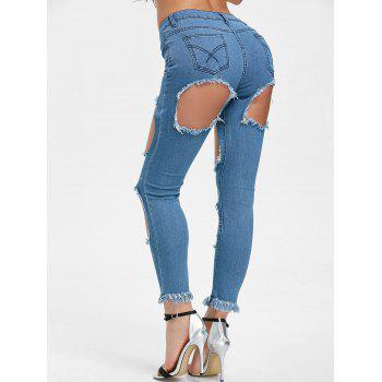 Hole High Waisted Distressed Jeans - CLOUDY S