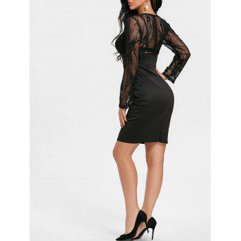 See Through Lace Insert Bodycon Mini Dress - BLACK XL