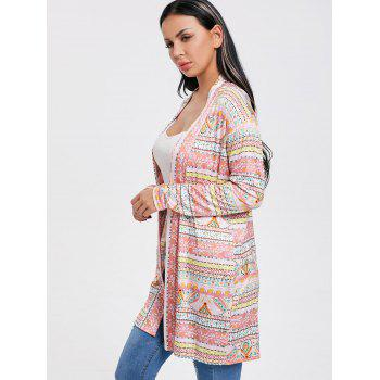 Printed Open Front Tunic Cardigan - multicolor M