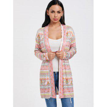 Printed Open Front Tunic Cardigan - multicolor S