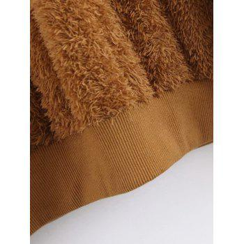 Textured Shearling Sweatshirt - BROWN S