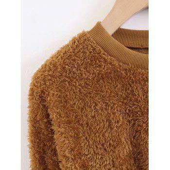 Sweat-shirt Texturé en Peau de Mouton - BRUN M