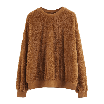 Textured Shearling Sweatshirt - BROWN L