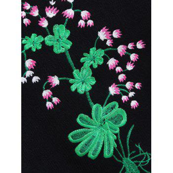 Floral Embroidered Flouncy Sleeve Sweater - BLACK ONE SIZE