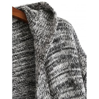 Open Front Heathered Hooded Cardigan - GRAY ONE SIZE
