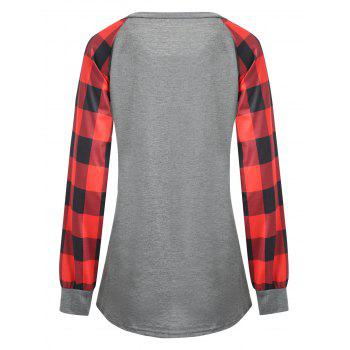 Plus Size Plaid Panel Raglan Sleeve  T-shirt - RED RED