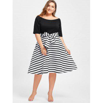 Plus Size Stripe Christmas Party Knee Length Dress Black2xl In