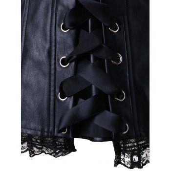 Steel Boned Lace Panel Corset Top - BLACK L