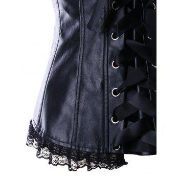 Steel Boned Lace Panel Corset Top - BLACK BLACK