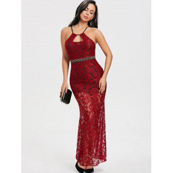 2018 Keyhole Cross Back Lace Party Dress WINE RED M In Maxi Dresses ...