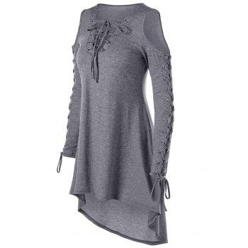 Lace Up Cold Shoulder Tee Dress - LIGHT GREY 2XL
