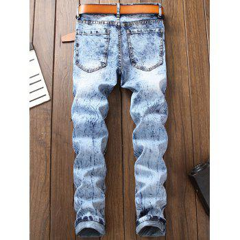 Light Wash Zipper Embellished Biker Jeans - LIGHT BLUE 36