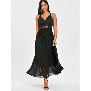 Lace Insert Maxi Chiffon Dress - BLACK BLACK