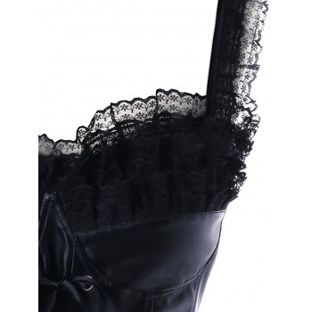 Steel Boned Lace Panel Corset Top - BLACK 2XL